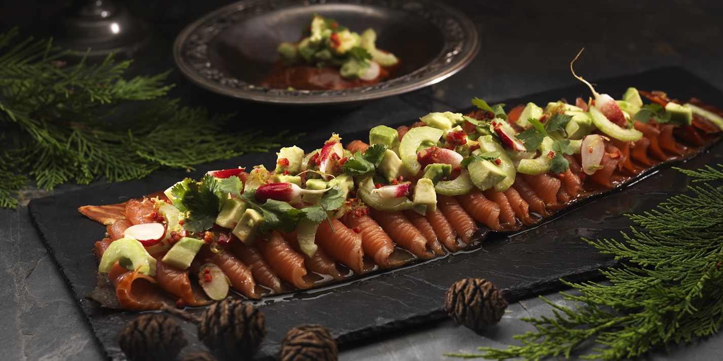 Smoked salmon with avocado, cucumber salad and oriental vinaigrette