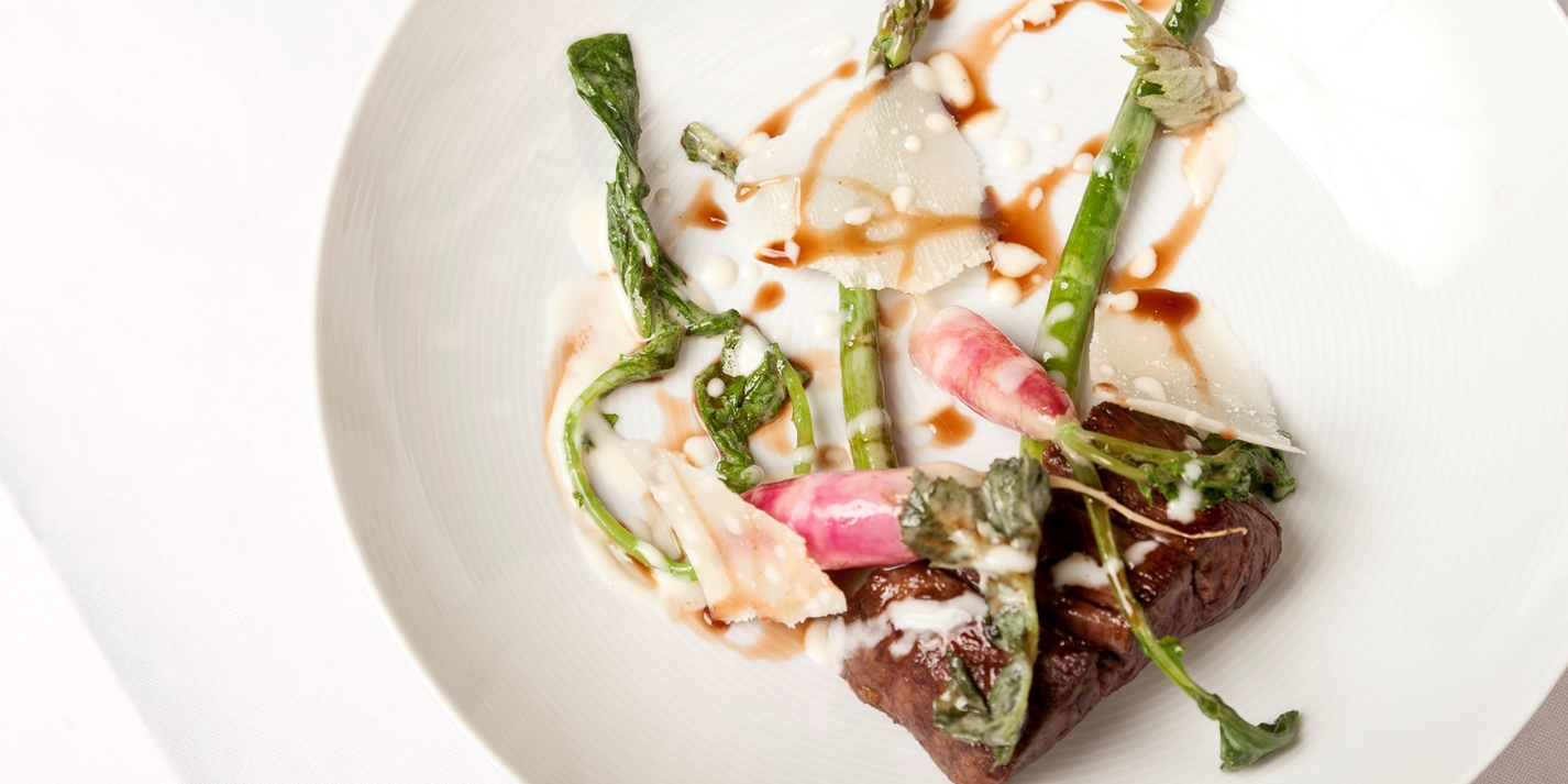 Beef with asparagus, hogweed, radish and Parmesan