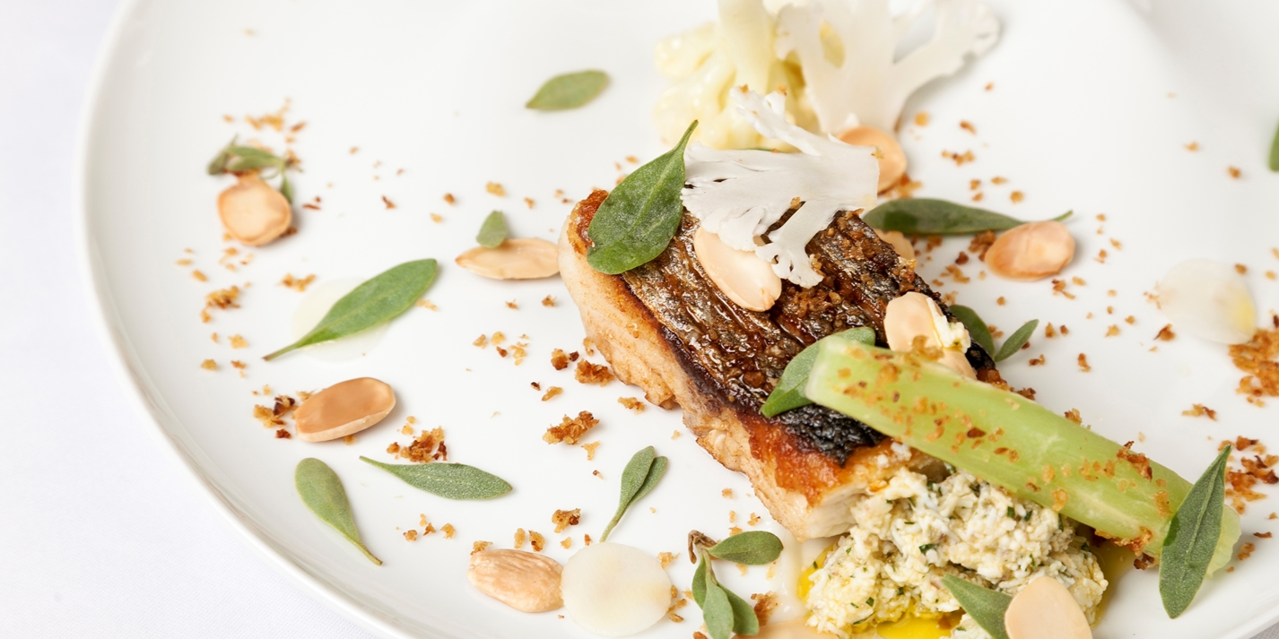 Sea bass with cauliflower textures and polonaise sauce