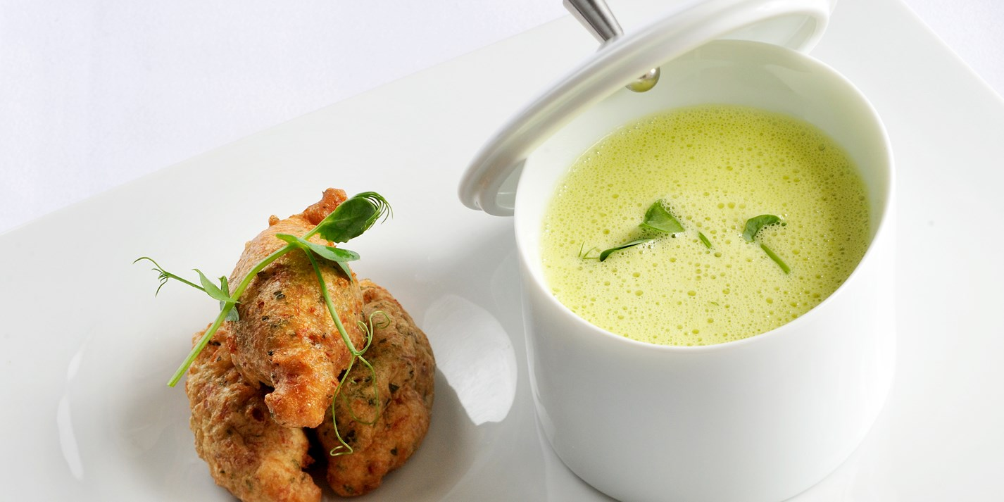 Sweet pea and toffee soup with hog's pudding fritter