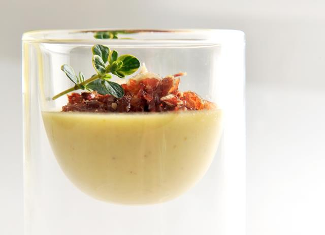 Chicken liver parfait with smoked bacon