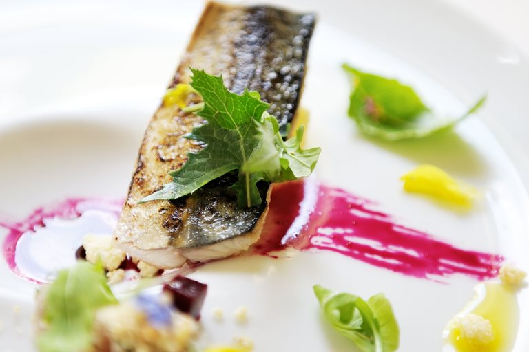 Mackerel, white chocolate, horseradish and beetroot
