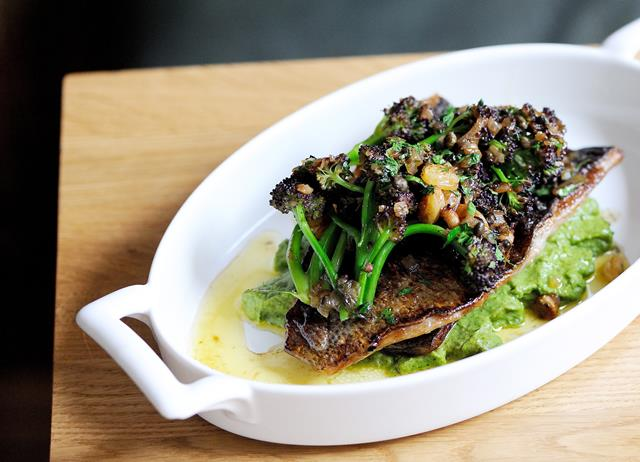 Black bream with toasted almonds, brown shrimp and broccoli purée