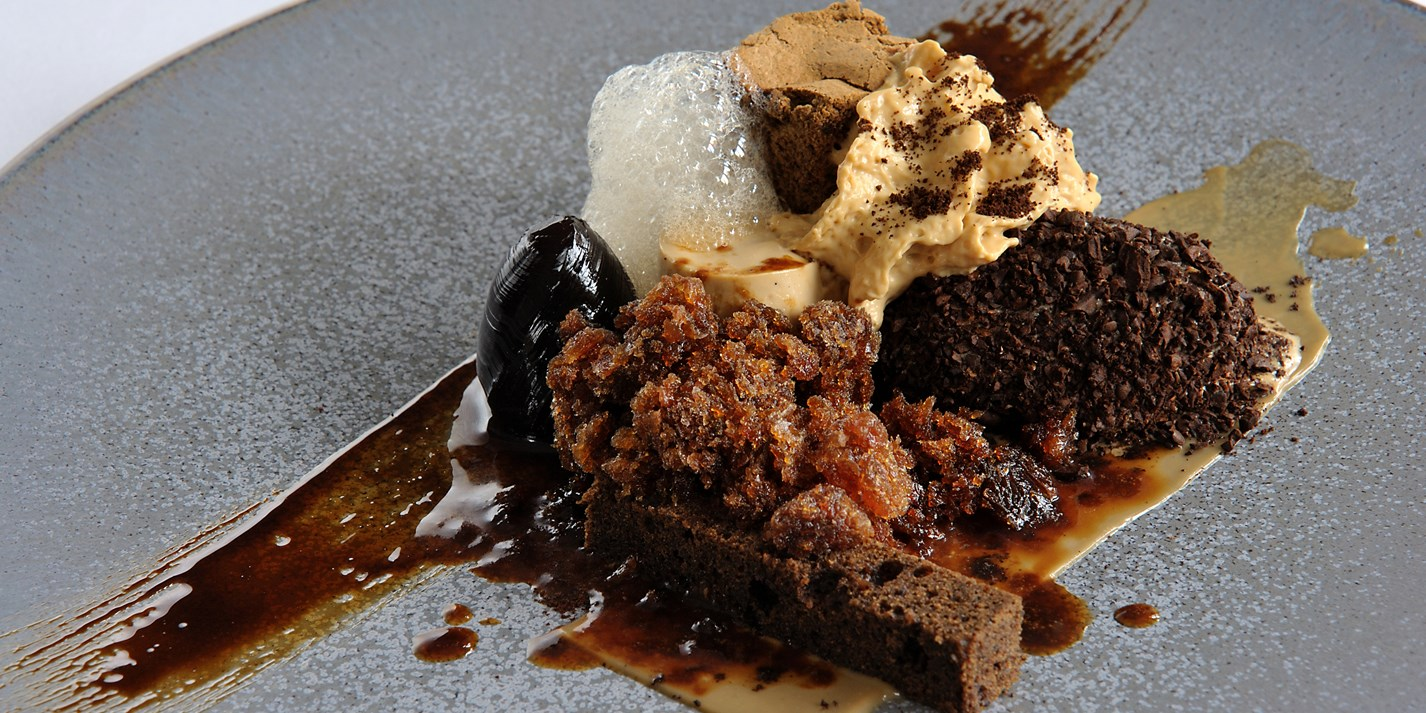 Coffee panna cotta with coffee granita and ice cream