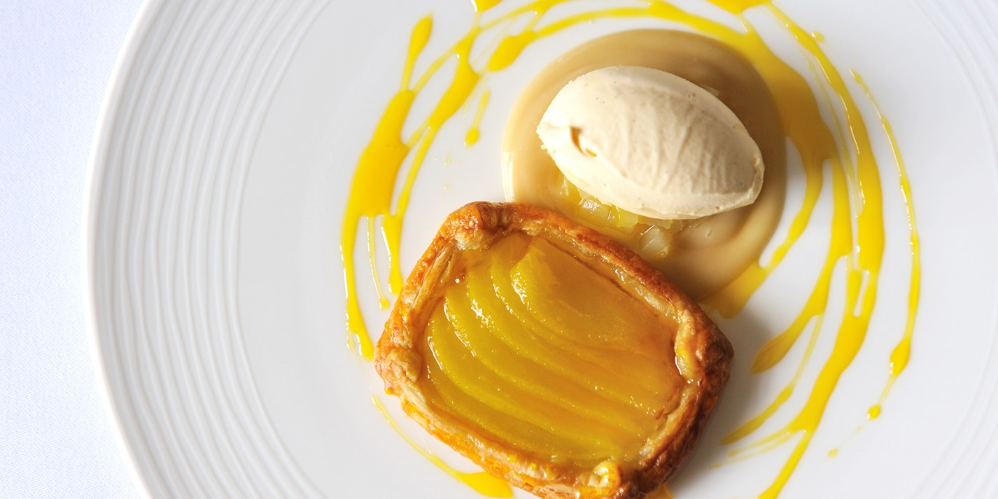 Pear tart and Tregothnan Earl Grey tea ice cream