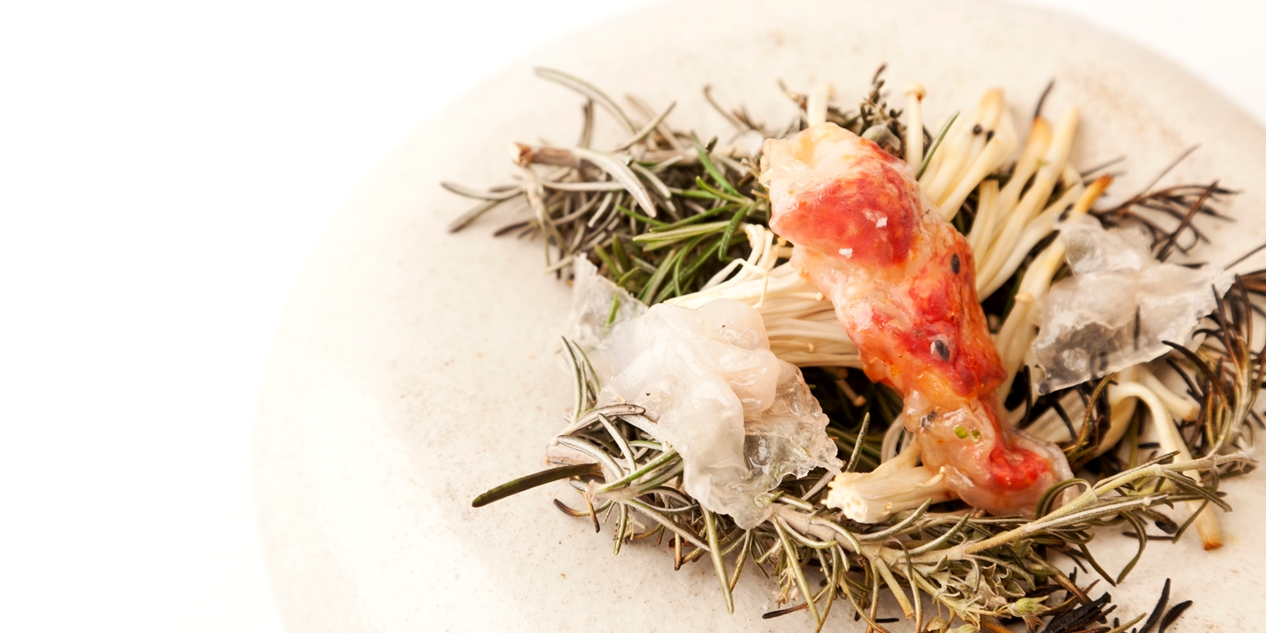Langoustine with smoked enokis and lardo