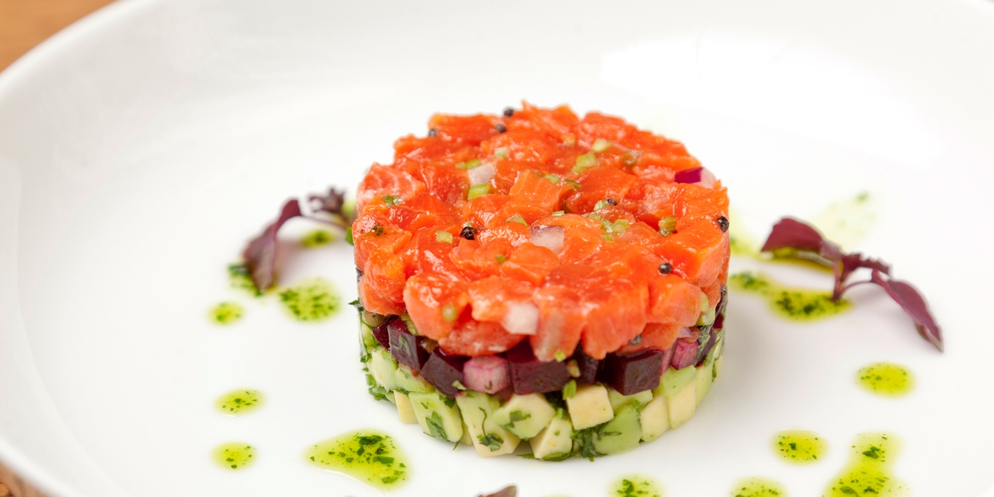 Alaska salmon tartare with beetroot and avocado