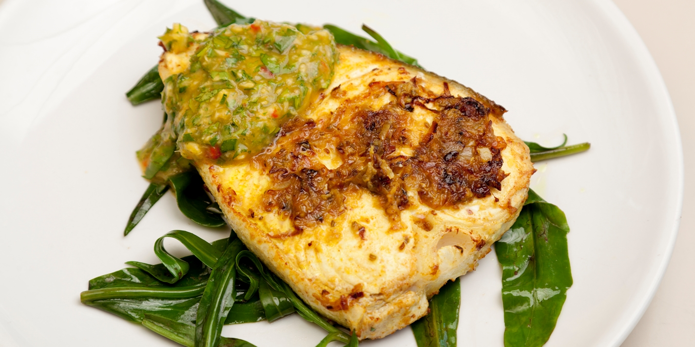 Ajowan, turmeric and coriander marinated Alaska halibut with mango nam prik