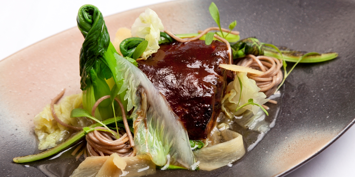 Miso-marinated Alaska black cod, soba noodles and green tea broth