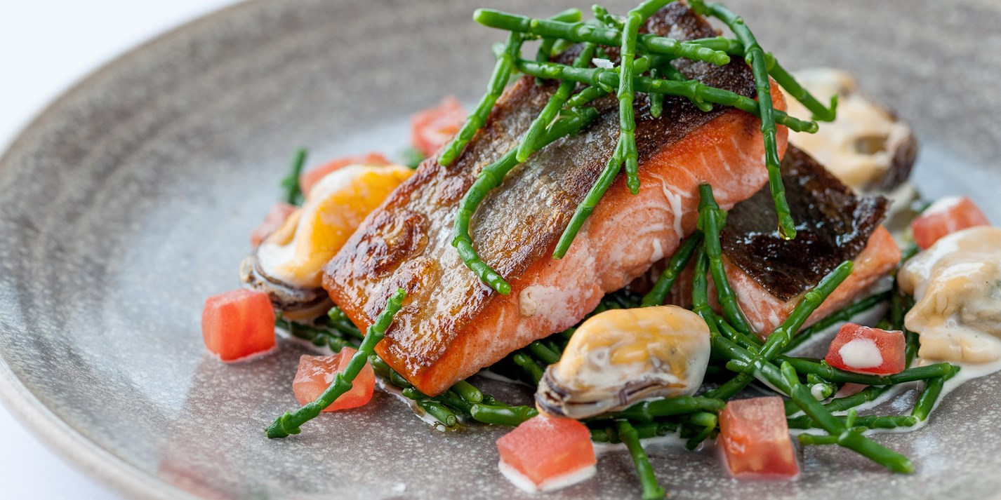 Alaska salmon with samphire and mussels