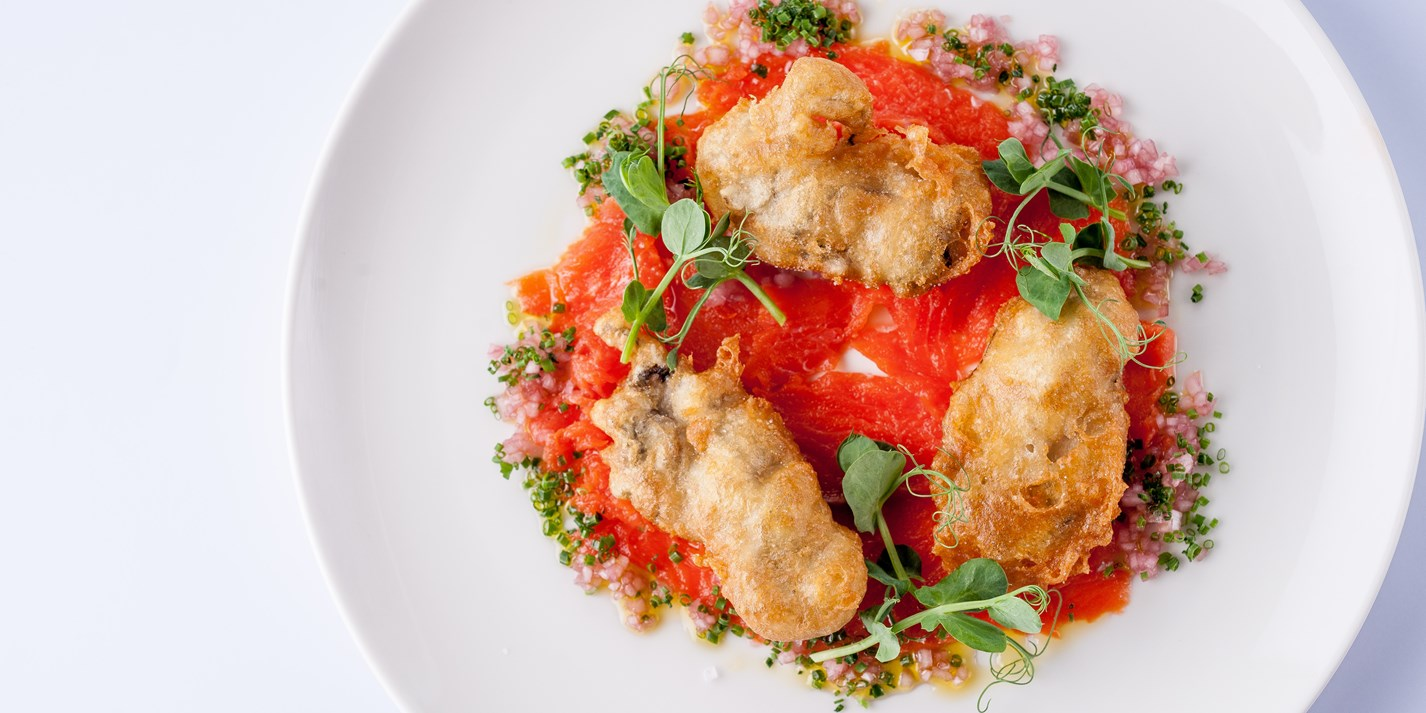 Raw Alaska salmon with ginger dressing and fried oysters