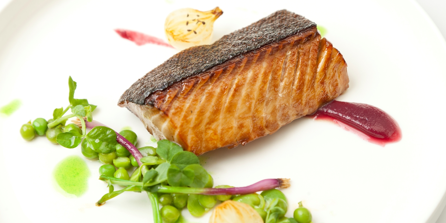 Alaska black cod with red onion jam, peas and broad beans