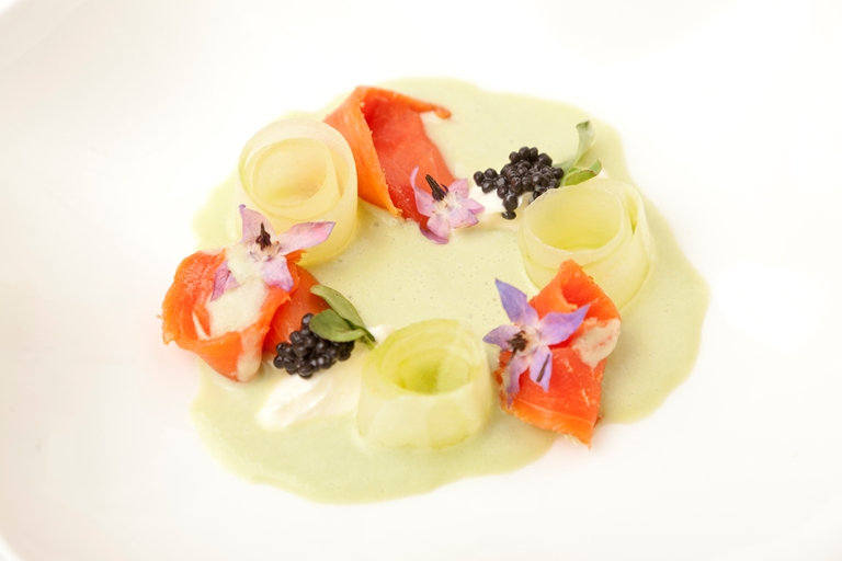 Home-smoked Alaska salmon with pickled cucumber, crème fraîche and English wasabi gazpacho