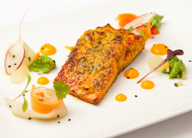 Roasted Alaska salmon, dill and mustard, green pea relish