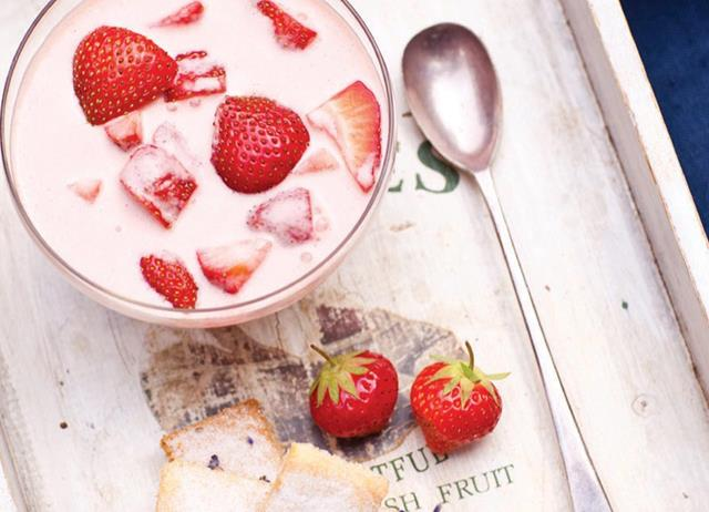 Strawberry and lavender panna cotta with olive oil shortbread