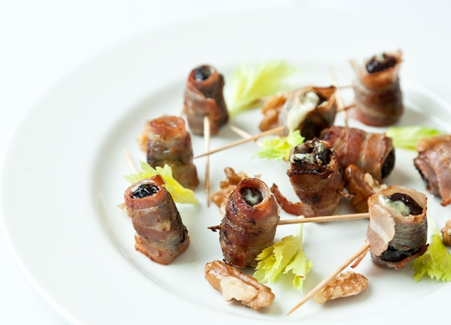 Prunes and Gorgonzola wrapped in pancetta