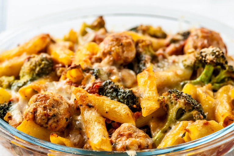 Meatball pasta bake recipe kids recipes great british for Baked pasta with meatballs and spinach