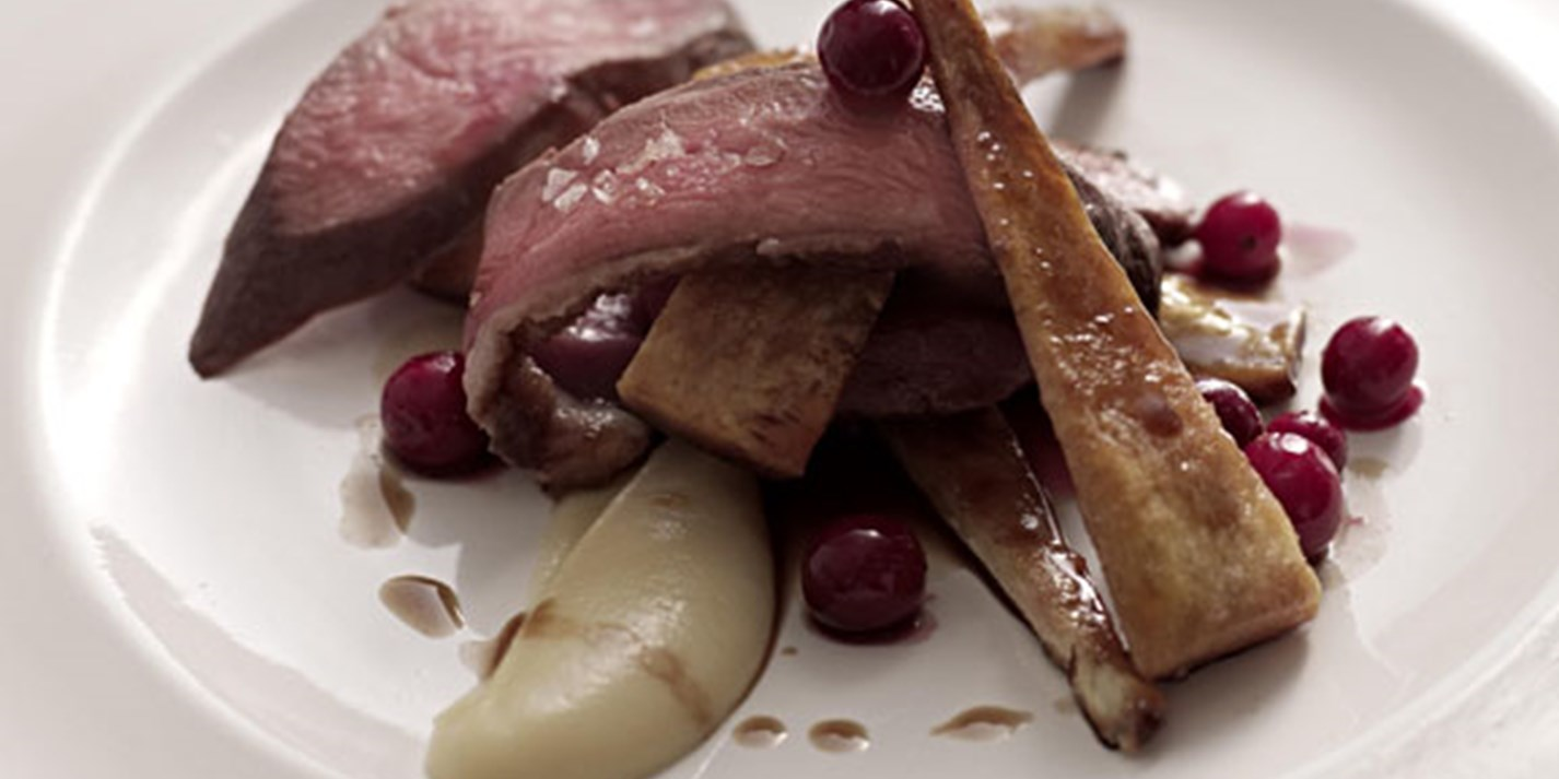Breast of goose with cranberries and celeriac