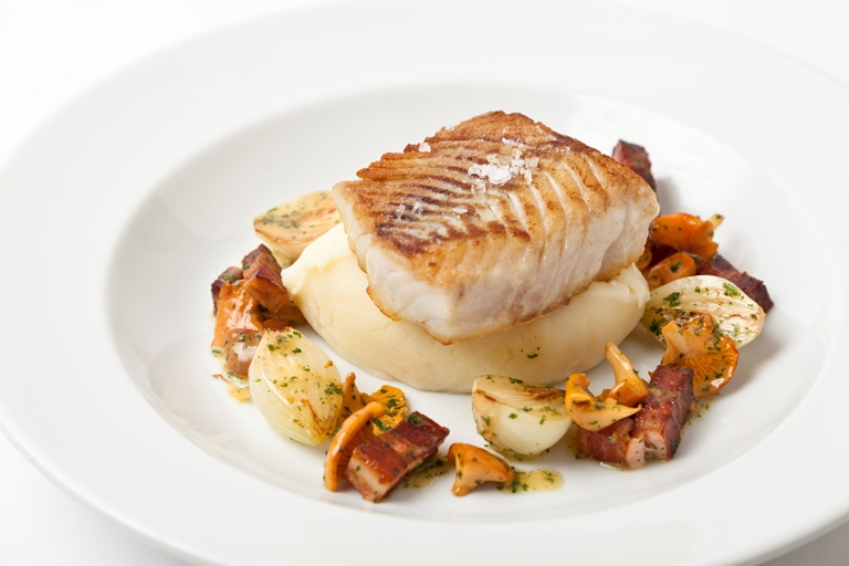 Pan Fried Halibut With Smoked Bacon Amp Girolles Great British Chefs