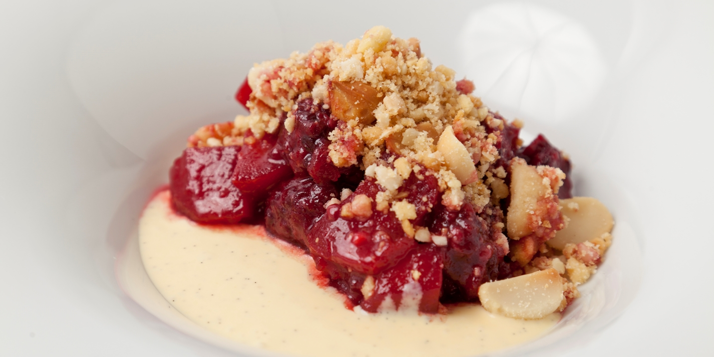 Apple and blackberry crumble with a Macadamia nut and vanilla topping