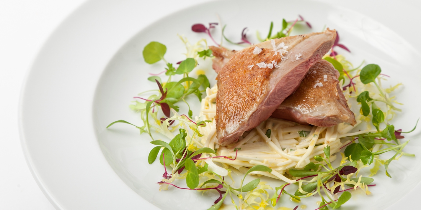 Roast squab pigeon with celeriac salad