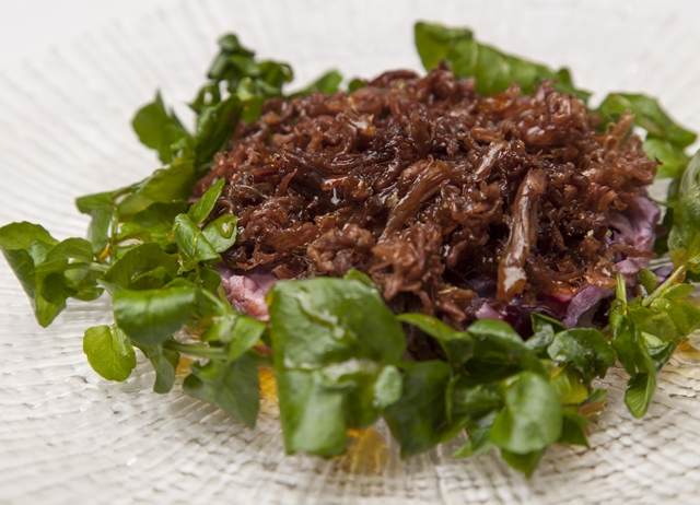 Crispy duck with red cabbage coleslaw and orange watercress salad