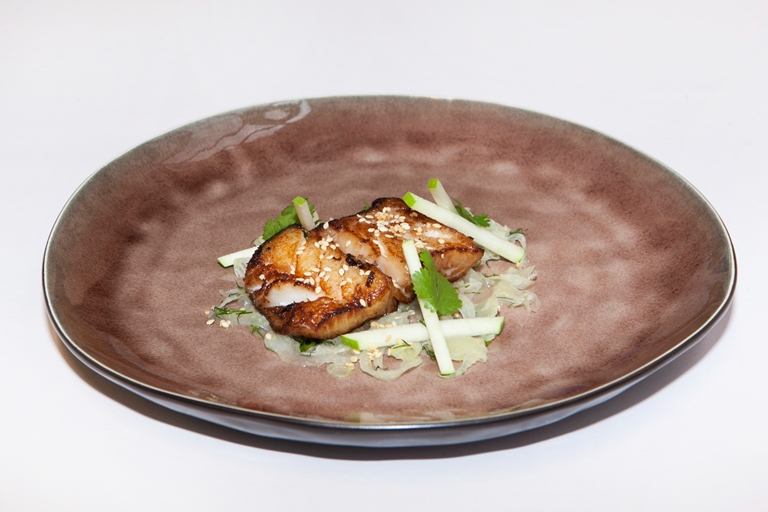 Soy-marinated cod with fennel, dill and apple