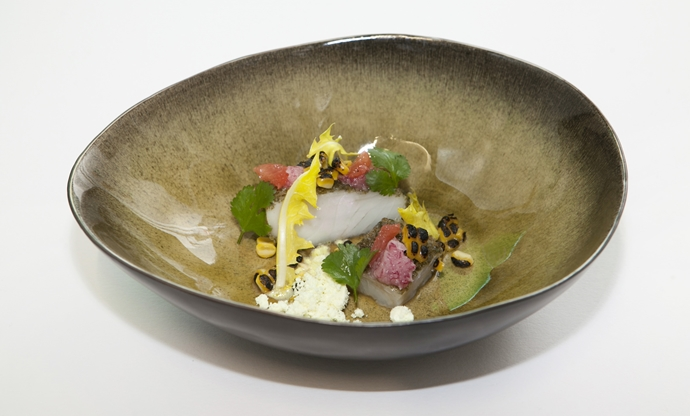 Pollock with kombu seaweed, sweetcorn and grapefruit