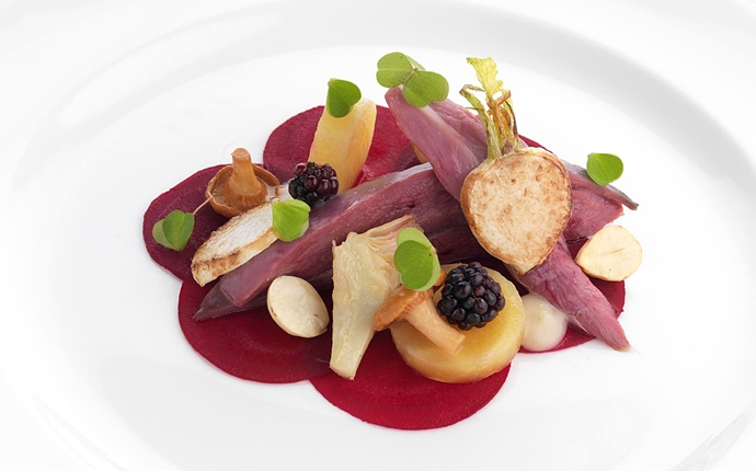 Grouse with beetroot