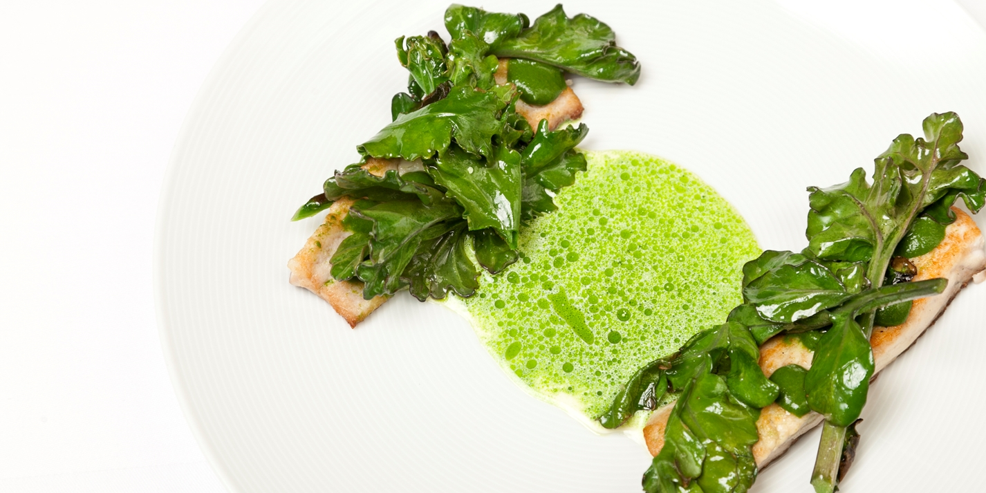 Grey mullet with nettle, sea kale, parsley and cream