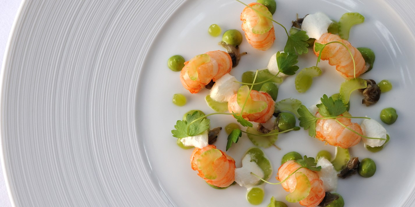 Roasted Scotch langoustines, oyster purée, celery, and horseradish