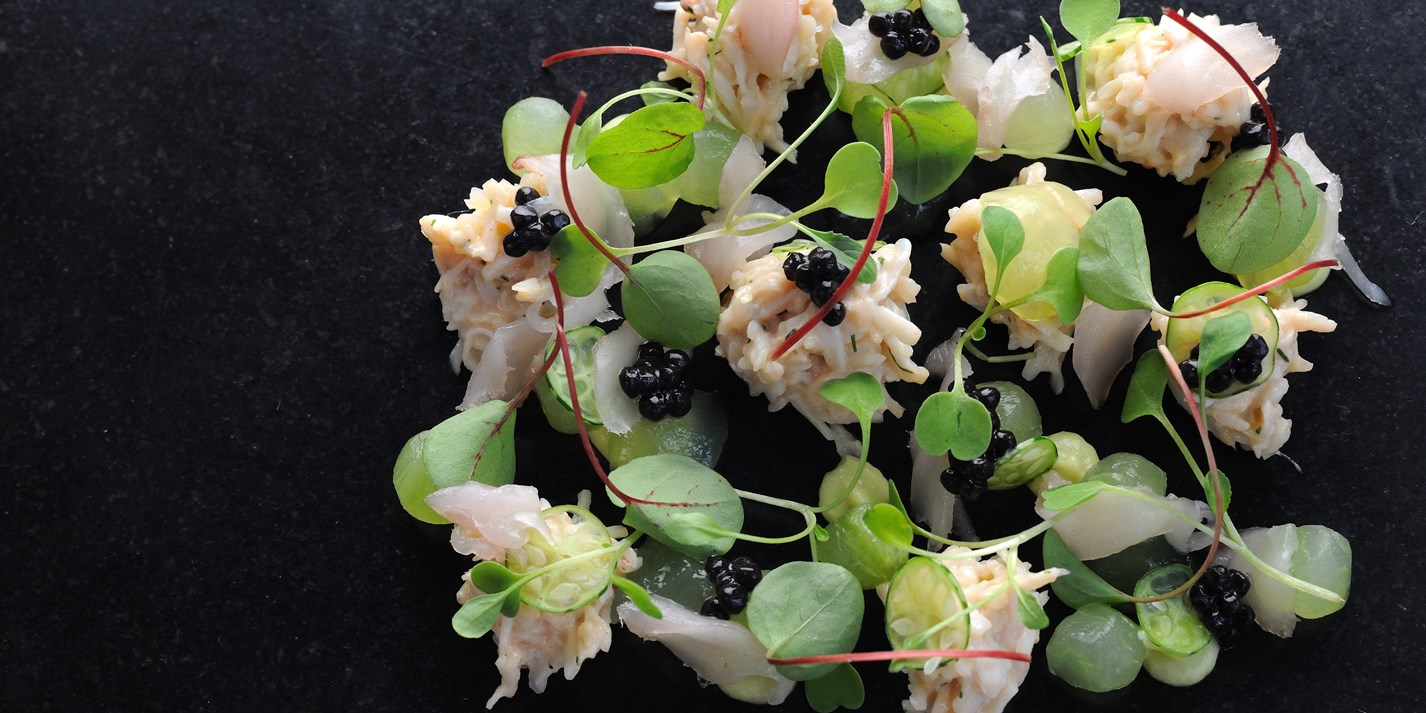 Crab salad, mackerel tartare, cucumber and avocado