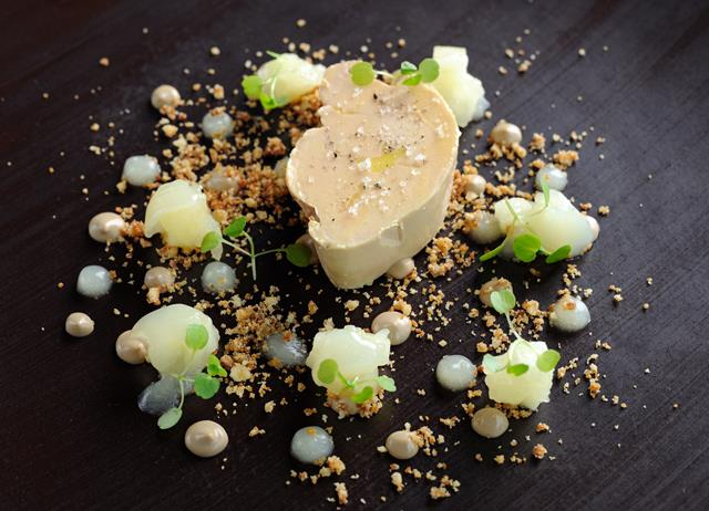 Confited foie gras, bramley apple compote and walnut crunch