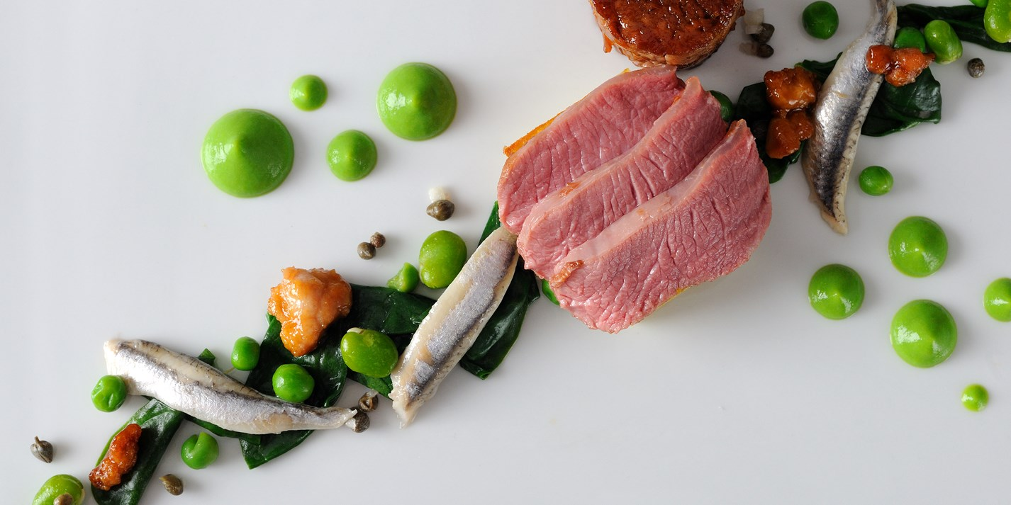 Lamb rump with wild garlic, anchovy and pea purée