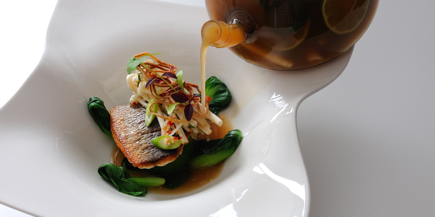 Bream with galangal broth