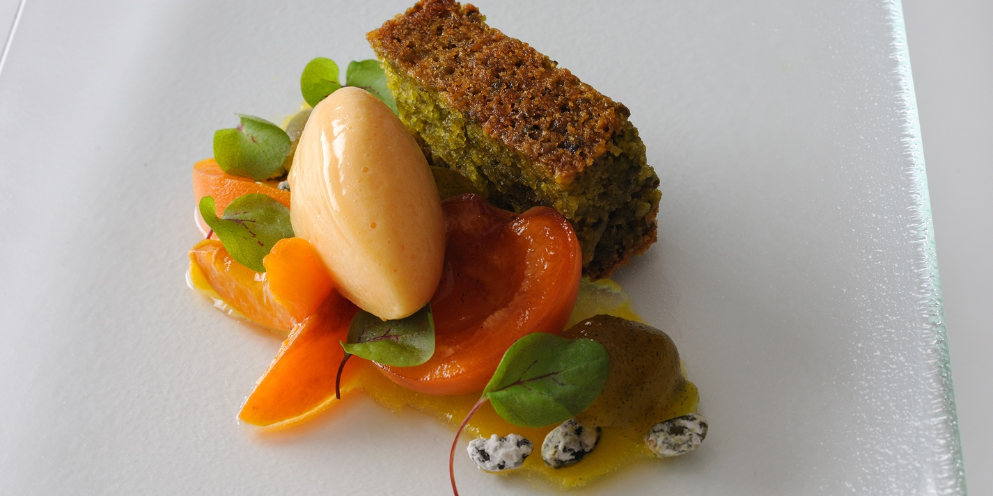 Pistachio and olive oil cake with apricot