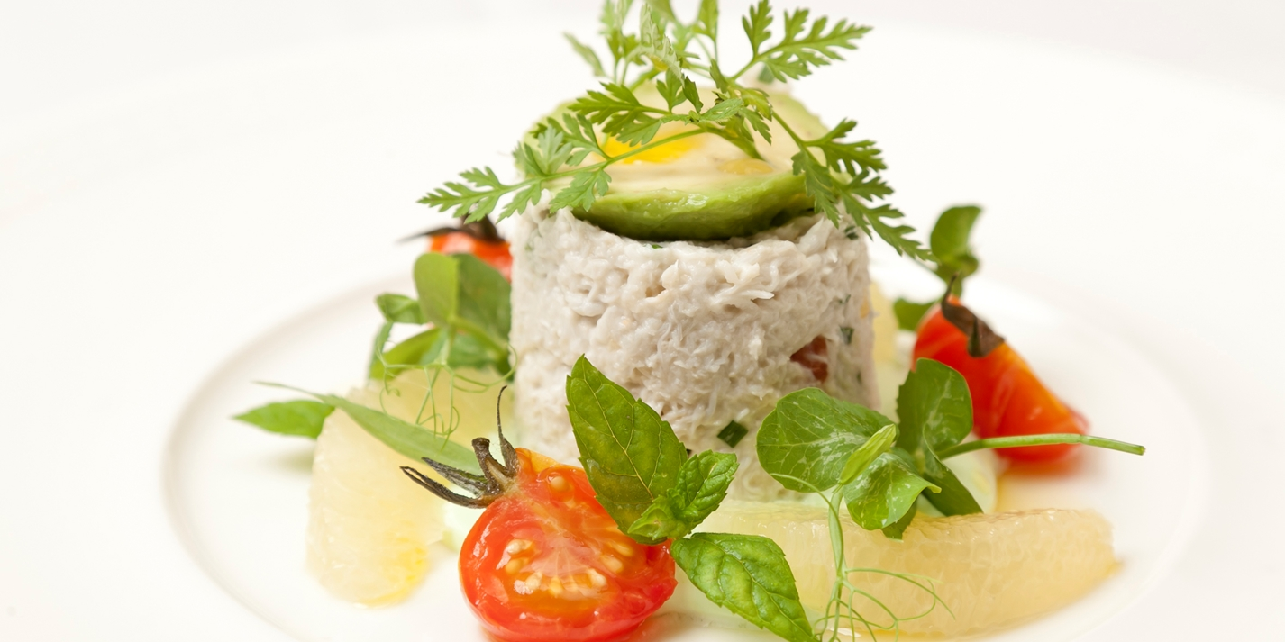Crab salad with avocado cream