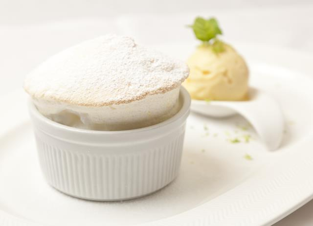 Lemon soufflé with lime sorbet