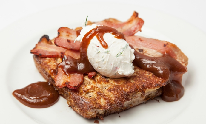 Spiced banana French toast, smoked bacon, chilli labne, tamarind caramel