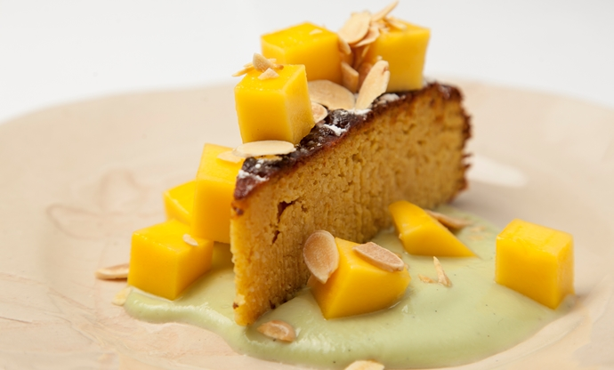 Boiled orange cake with coconut custard