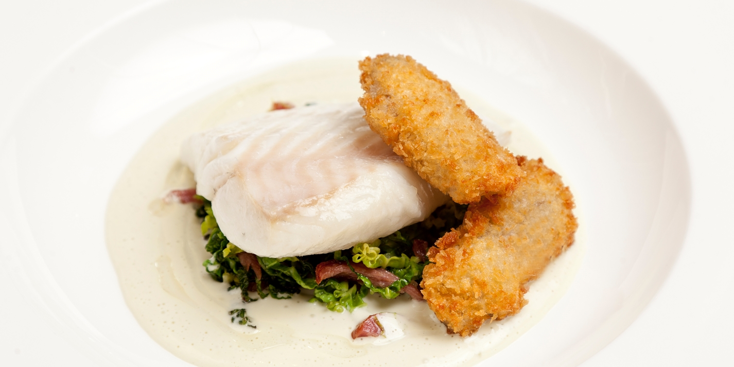 Turbot with oysters, cabbage and bacon