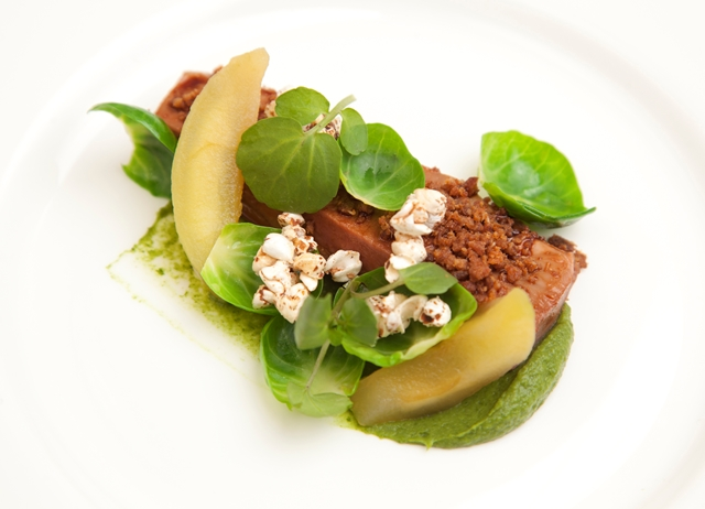 Poached duck with Brussels sprouts, apple and buckwheat