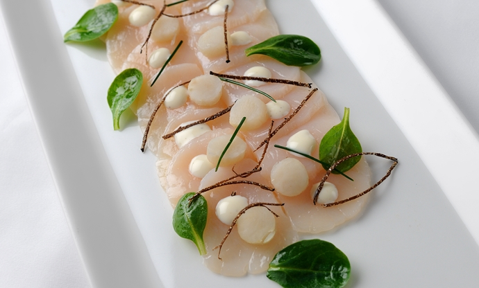 Carpaccio of hand dived scallops with truffle vinaigrette
