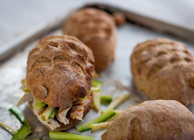 Chicken and apple hedgehog rolls