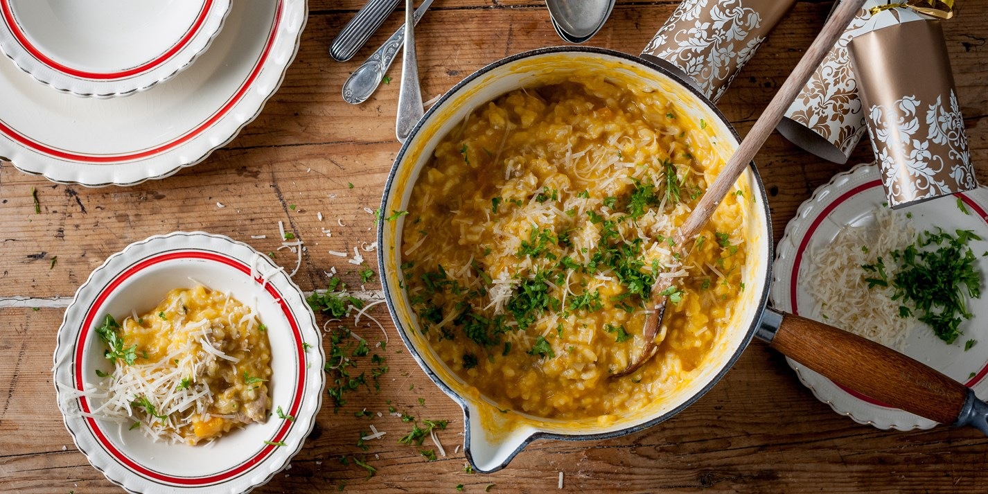 Pumpkin and turkey risotto