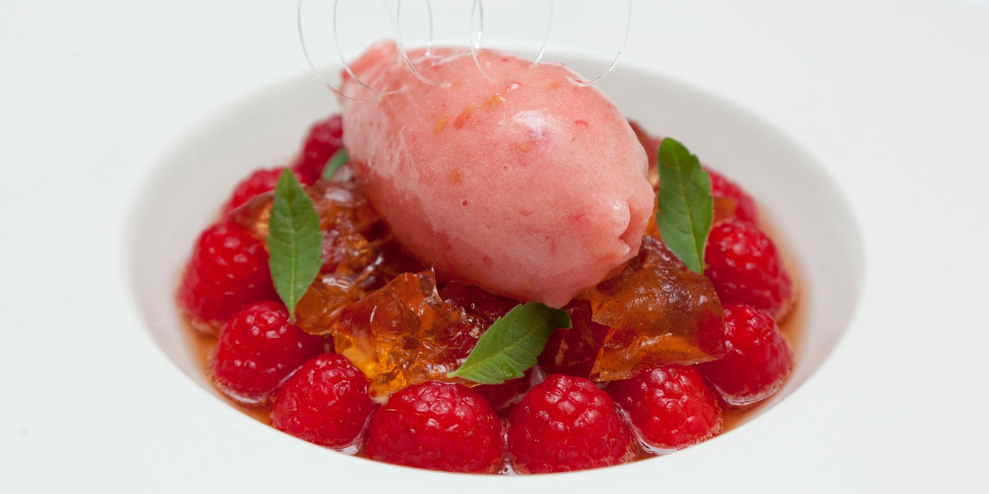 Meantime raspberry wheat beer sorbet with marinated raspberries and raspberry beer jelly