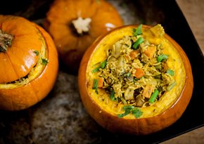 Hyderabadi biryani of vegetables in a pumpkin shell