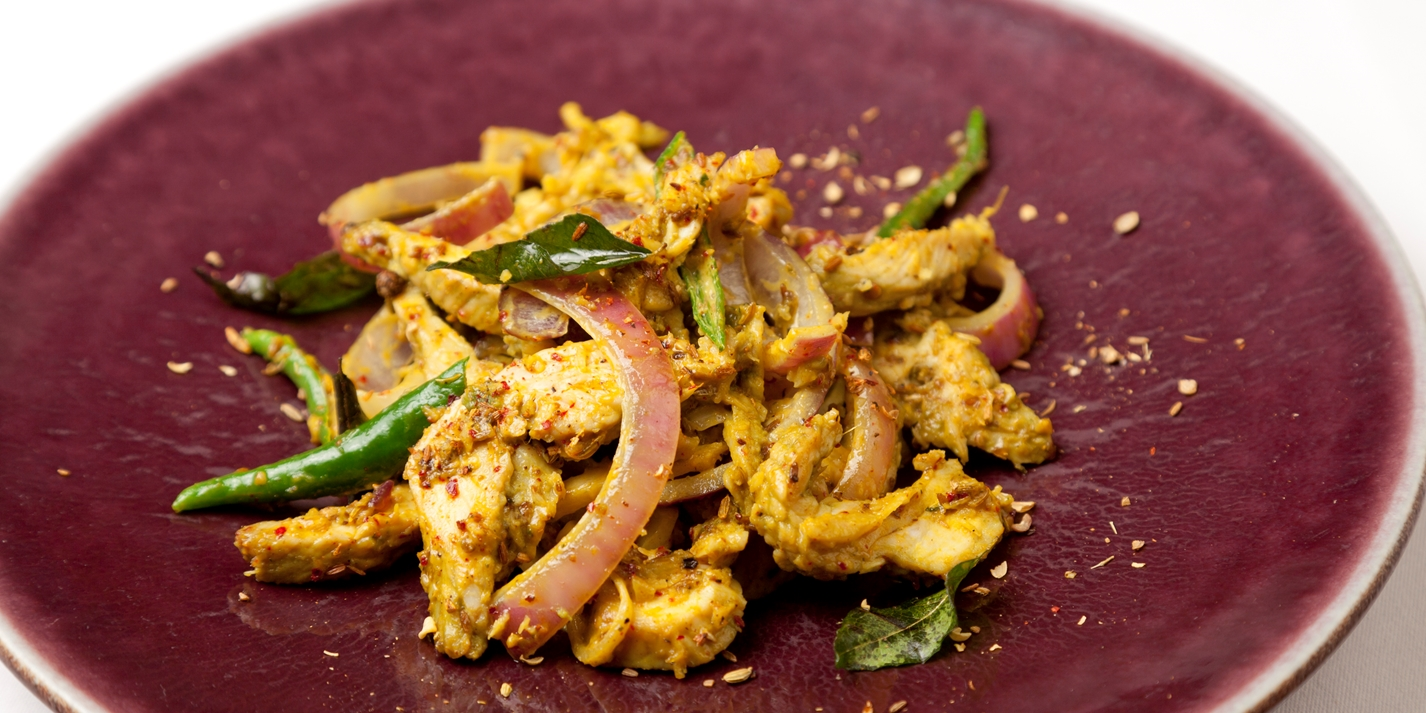 South Indian-style stir fry of leftover turkey with curried yoghurt