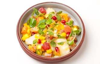 Scallop, tuna and salmon ceviche with mango