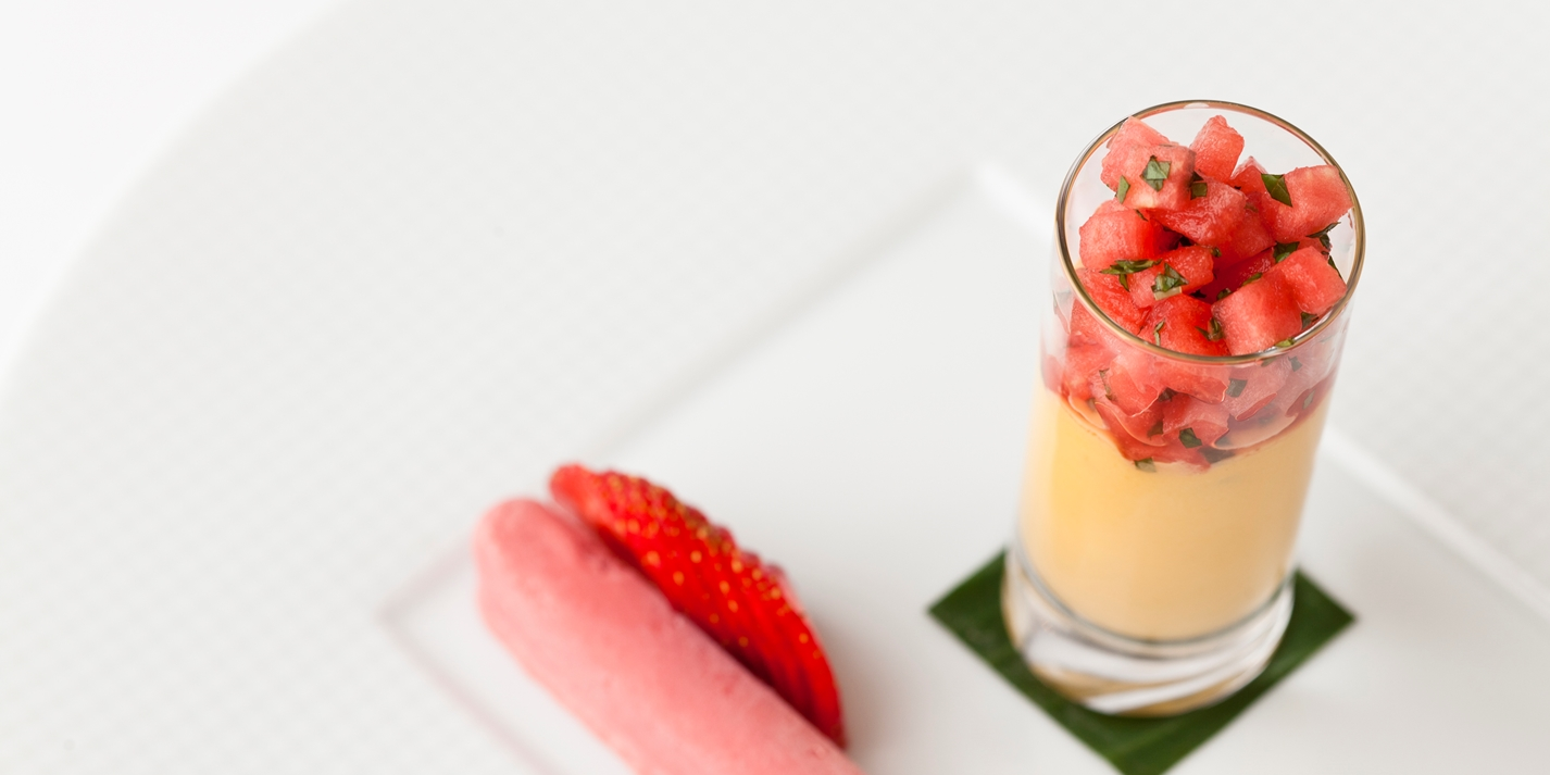 Mango baked yoghurt, melon-mint salsa, and strawberry cream fingers